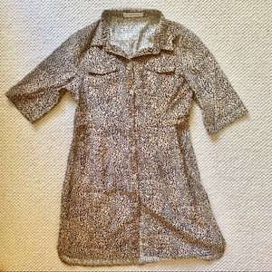 Leopard Corduroy Dress with buttons and collar